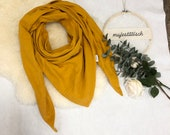 Large neckscarf/triangle scarf made of muslin uni mustard yellow