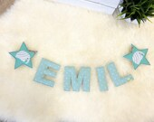 Name chain, letter garland mint green
