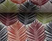 Coated cotton Leonie, palm leaves, red, green, blue