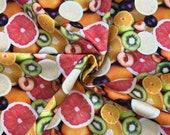 Decorative fabric, canvas, colorful, fruit, kiwi, orange etc.