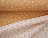 Muslin, white yellow/orange, dotted, usable on both sides