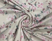 Jersey, beige, small flowers pink and white