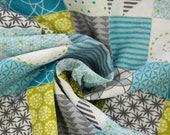 Milli Blu's cotton, green, turquoise, white, grey, patchwork