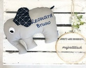 Cuddly elephant, pillow, elephant, grey-dark blue, with name