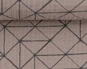 Muslin, Jeron, Double Gauze, beige-taupe with geometric black lines