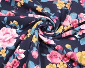 French Terry, summer sweat, dark blue, pink and orange flowers