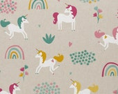 Decorative fabric, canvas, emilia, unicorn, rainbow, linen optics