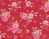 Cotton, Westphalian fabrics Rosenborg, red, flowers, white dotted