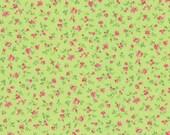 Cotton, Westphalian fabrics, Wales, green, stray flowers pink