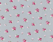 Cotton, Westphalian fabrics, princess, grey, red flowered, roses