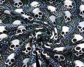 French Terry, black, skulls