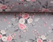 Cotton, Subdina, Grey, Roses in Pink White