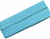 Jersey slanted ribbon, light turquoise, width 2 cm, pre-folded from 4 cm to 2 cm, length: 3 m