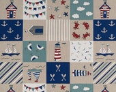 Decorative fabric, canvas, patchwork maritim, beige, blue, red, white