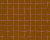 French Terry, Modal, Ochre, Pink Checkered, Cherry Picking