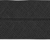 VENO cotton slanted ribbon, black, folded 60/30, width 3 cm, pre-folded from 6 cm to 3 cm