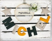 Name chain, letter garland mustard yellow-green-beige