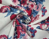 Cotton, white, blue, pink floral, flowers, Westfalenbons