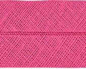 VENO cotton slanted ribbon, dark pink, folded 40/20, width 2 cm, pre-folded from 4 cm to 2 cm