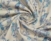 Cotton, beige, light blue, birds