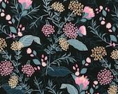Jersey, dark blue, flowers