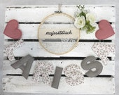 Name chain, letter garland old pink-white-grey