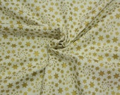 Cotton, white with golden stars