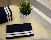 0.95 m cuffs, collage cuffs, dark blue, white stripes
