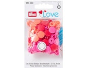 Push Button Color Snaps, Prym Love, Plastic, 12.4 mm, Red
