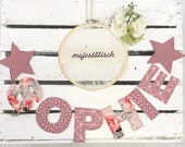 Name chain, letter garland old pink-pink