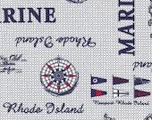 Cotton, Westphalian Fabrics, Hamburg, White-Blue Navy