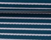 Jersey, petrol, white stripes in braid pattern