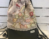 Gym bag, backpack for adults, world map