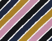 French Terry, summer sweat, lyck, diagonally striped, mustard-old pink-blue-black