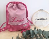 Gym bag, backpack for kids with name, pink, hearts