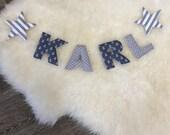 Name chain, letter garland dark grey-grey-white