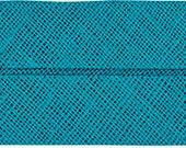 VENO cotton slanted ribbon, light petrol, folded 40/20, width 2 cm, pre-folded from 4 cm to 2 cm