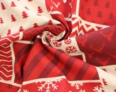 Canvas, decorative fabric, natural, red, Christmas, patchwork
