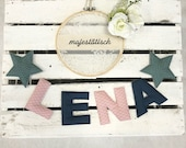 Name chain, letter garland blue-mint-old pink
