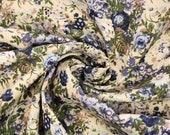 Cotton, beige, green blue floral