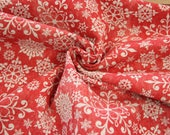Canvas, decorative fabric, red, white snowflakes