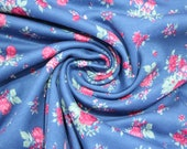 Interlock jersey, blue, pink floral