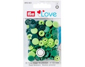 Push Button Color Snaps, Prym Love, Plastic, 12.4 mm, Green