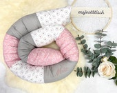 Cuddly roll with name, bed snake 180 x 11 cm, pink-white-grey