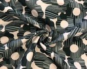 Tillisy, decorative fabric, canvas, light grey, flowers in anthracite/green stitch