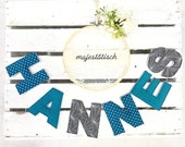 Name chain, letter garland petrol-grey