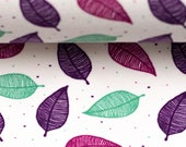 REMNANT Jersey Nevio, white, leaves in pink, purple, mint