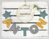 Name chain, letter garland mint-mustard yellow-grey