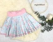 Plate skirt, skirt, light blue, birds pink