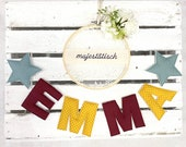 Name chain, letter garland mint-mustard yellow-bordeaux